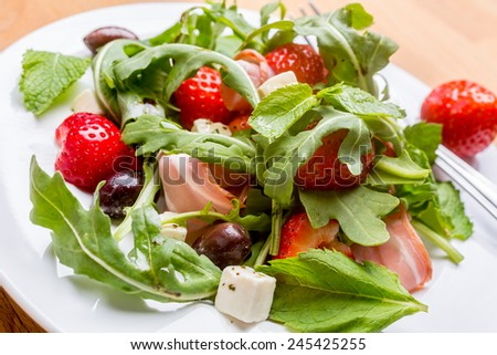 Fresh Healthy Vegetable and Fruit Salad - stock photo