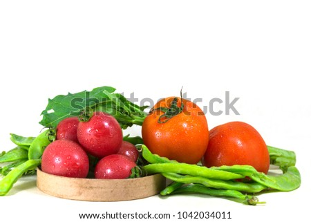 Fresh healthy vegetables on a white background