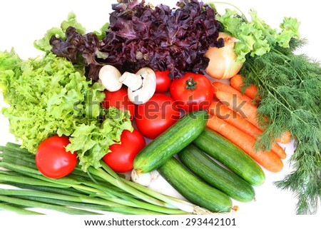 Fresh healthy vegetables on a white background - stock photo
