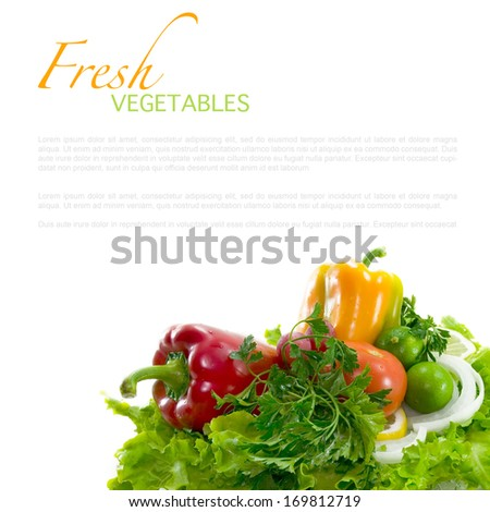 Fresh healthy vegetables on white background (with easy removable sample text)