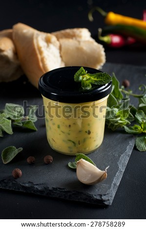 fresh herb butter with garlic - stock photo
