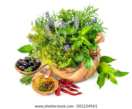 Fresh herbs and spices dill, rosemary, basil, mint, sage, lavender. Healthy food ingredients on white background. Laurel leaves, olives and oil - stock photo