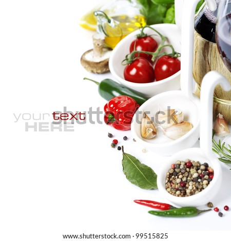 Fresh herbs and spices (tomatoe, garlic, pepper, mushroom, bay leaves, olive oil) With wine over white (with easy removable sample text) - stock photo