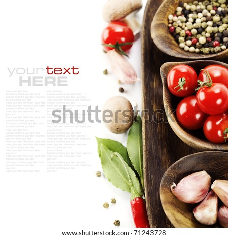 Fresh herbs and spices (tomatoe, garlic, pepper, mushroom, bay leaves) With sample text