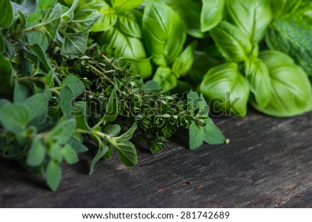 Fresh herbs cut in home garden, on wooden rustic table - stock photo