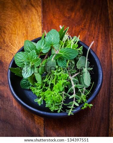 Fresh herbs from garden - stock photo