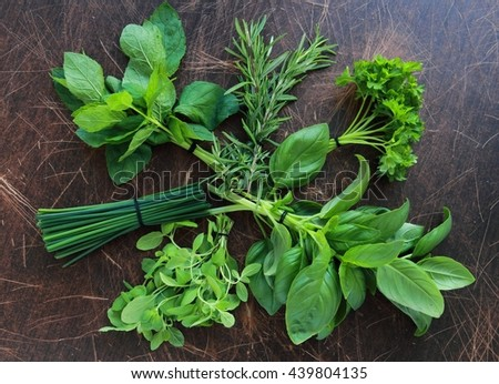 Fresh herbs from garden, view from above - stock photo