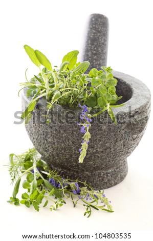 Fresh herbs in granite mortar - stock photo