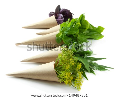 Fresh herbs, isolated on white - stock photo