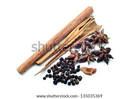 Fresh herbs isolated on white background - stock photo