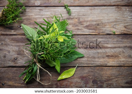 Fresh herbs on rustic wooden planks - stock photo