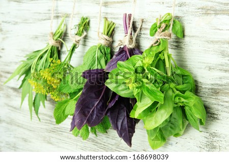 Fresh herbs on wooden background - stock photo