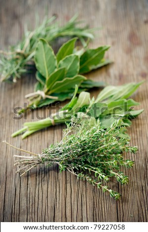 Fresh herbs on wooden surface - stock photo