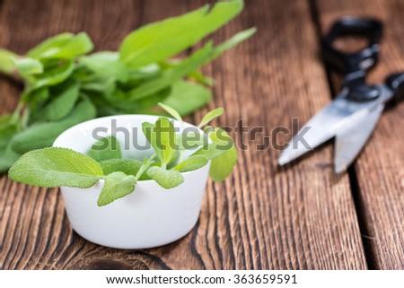 Fresh herbs (Sage) on vintage wooden background (close-up shot) - stock photo