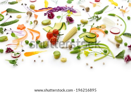 fresh herbs, vegetables and edible flowers collection,  healthy eating concept, botanical art - stock photo