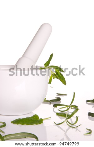 Fresh herbs with mortar - stock photo