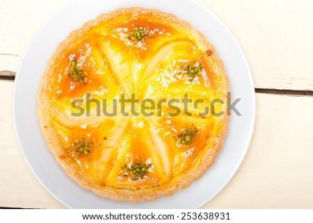 fresh home baked pears pie dessert cake tart  - stock photo