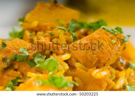 fresh home made curry beef rice and potatoes with ingredients around composition - stock photo