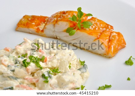 fresh home made potato salad with salmon