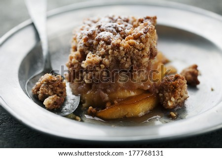 fresh homemade apple crumble - stock photo