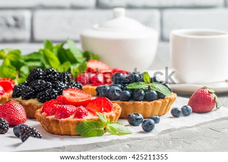 Fresh homemade berrie tarts - stock photo