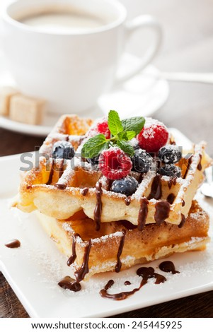 Fresh homemade brussels waffle with berries - stock photo