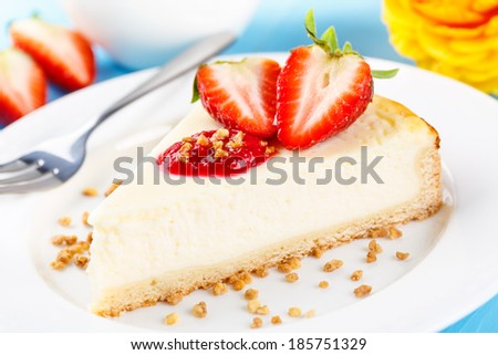 fresh homemade cheese shortcake with strawberry topping and brittle - stock photo