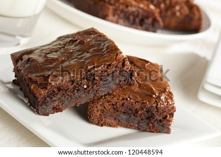 Fresh Homemade Chocolate Brownie against a background