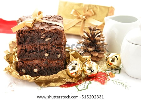 Fresh Homemade Chocolate Brownie and christmas decoration