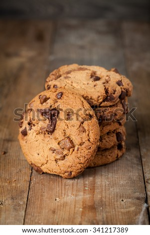Fresh homemade cookies on rustic wooden table.  - stock photo