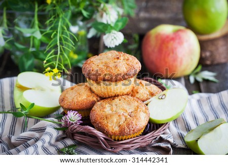Fresh homemade delicious apple muffins for breakfast - stock photo