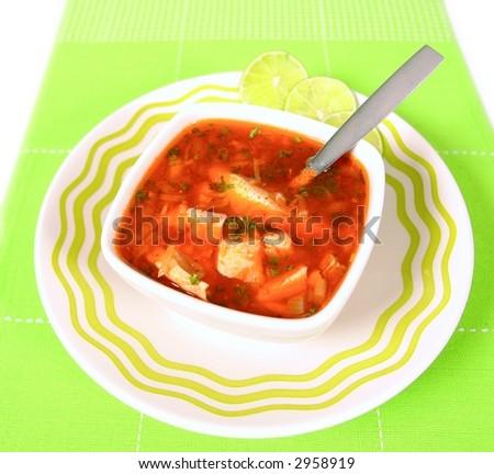 Fresh homemade fish soup - stock photo