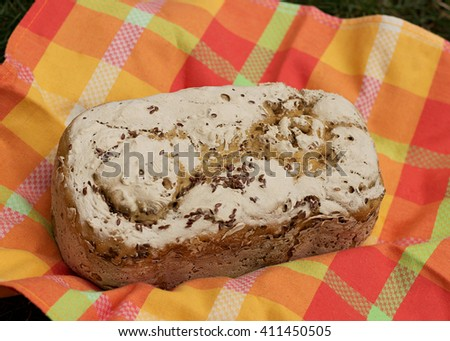 Fresh homemade gluten-free bread with seeds - stock photo