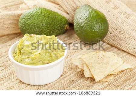 Fresh Homemade Guacmole against a back ground