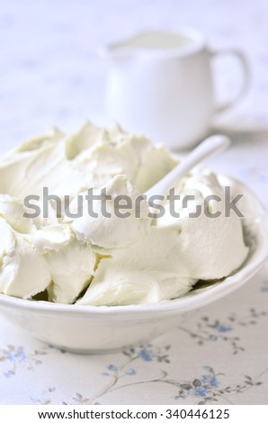 Fresh homemade mascarpone in a white bowl. - stock photo