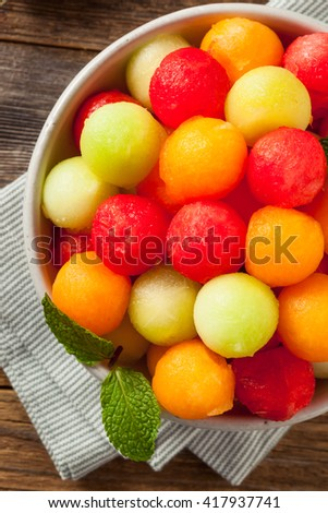 Fresh Homemade Melon Balls with Watermelon Canteloupe and Honeydew