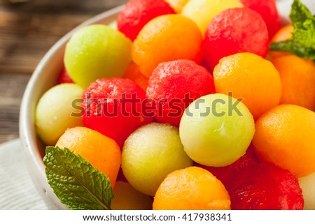 Fresh Homemade Melon Balls with Watermelon Canteloupe and Honeydew - stock photo