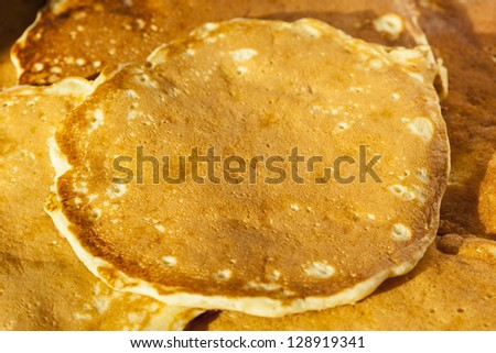 Fresh Homemade Pancakes made with whole grain - stock photo