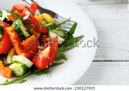Fresh homemade salad, food closeup - stock photo