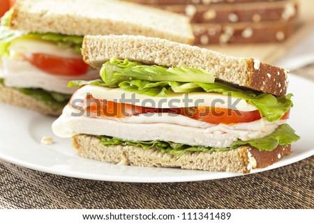 Fresh Homemade Turkey Sandwich made with organic ingredients - stock photo