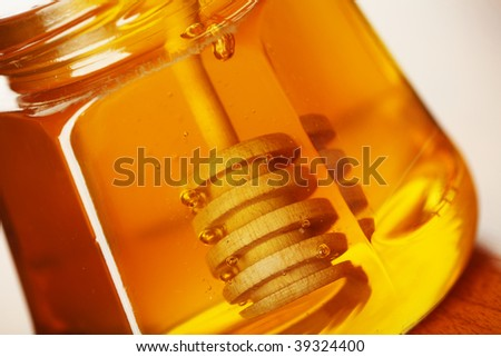 Fresh honey in jar