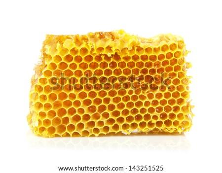 Fresh Honeycomb close up on the white - stock photo