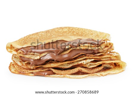 fresh hot blinis or crepes withc chocolate cream isolated on white - stock photo