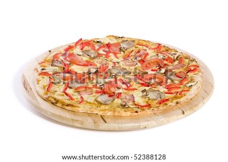 fresh hot pizza on white gorund - stock photo