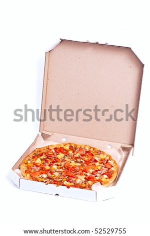 Fresh hot pizza with meat and cheese. With shadow - stock photo