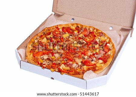 Fresh hot pizza with meat just delivered. Isolated on white - stock photo