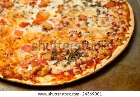 Fresh hot traditional Italian Margherita pizza. Baked and ready to serve. - stock photo