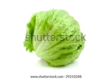 Fresh iceberg lettuce isolated on white background - stock photo