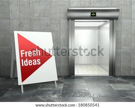 Fresh ideas concept, Modern elevator with open door - stock photo