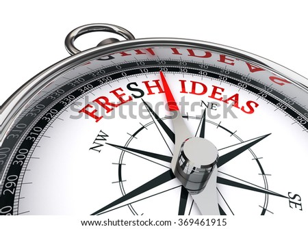 Fresh ideas the way indicated by concept compass, isolated on white background